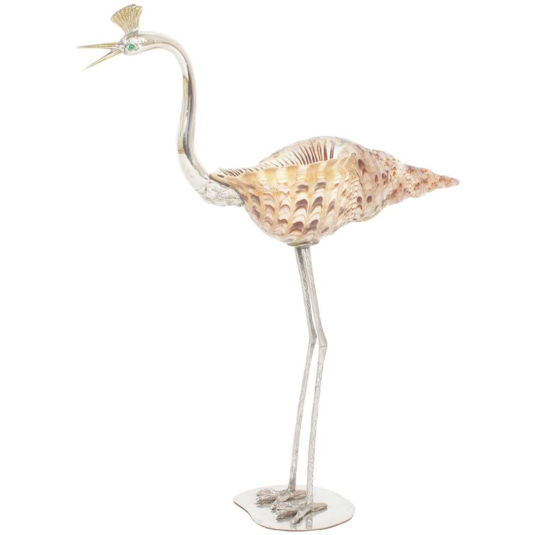 Vintage Mid-Century Bird with Shell Sculpture by Binazzi