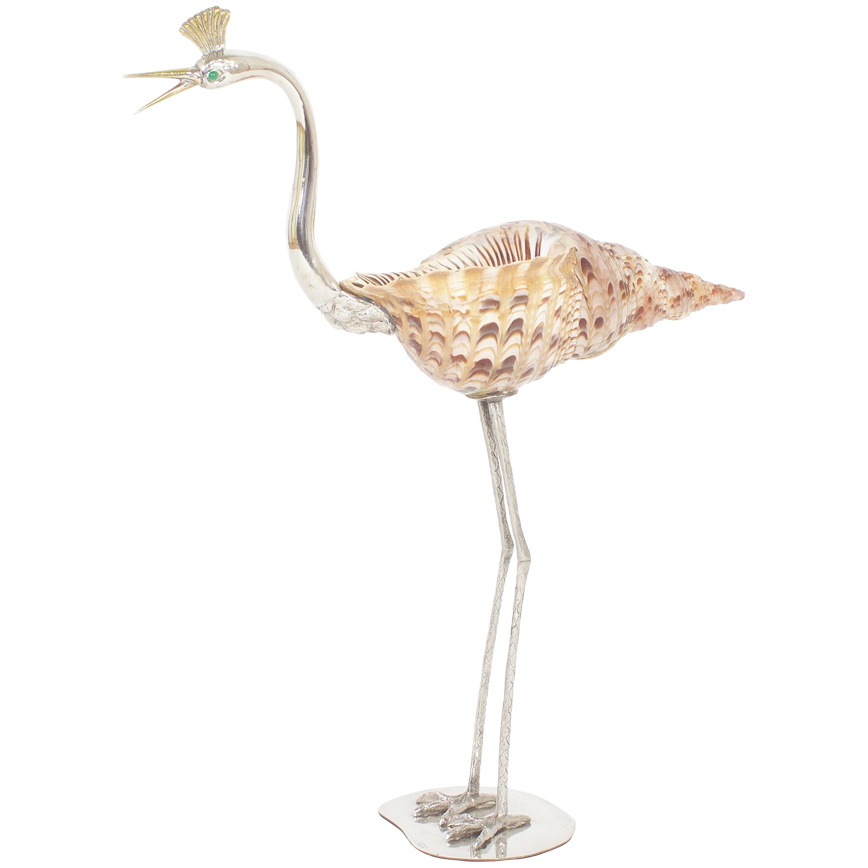 Vintage Midcentury Bird with Shell Sculpture by Binazzi
