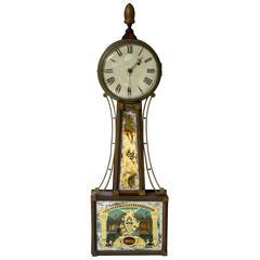 Banjo Clock, circa 1820, Antique Patent Timepiece
