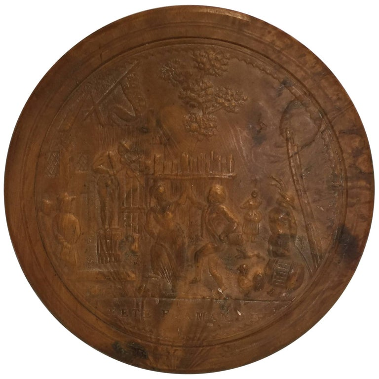 "Pressed Wood Snuff Box, 19th Century ""Fete Flamande"" For Sale"