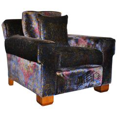 "Ralph Lauren ""Club"" Armchair in Pearlescent Paisley Velvet"