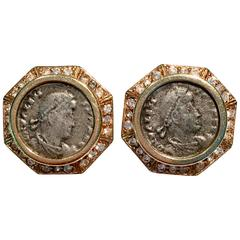 1970s Ciner Gold Roman Coin and Rhinestone Earrings