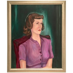 """Mid-Century Original Oil On Canvas Painting """" Women In Purple"""" By, Ardell"""