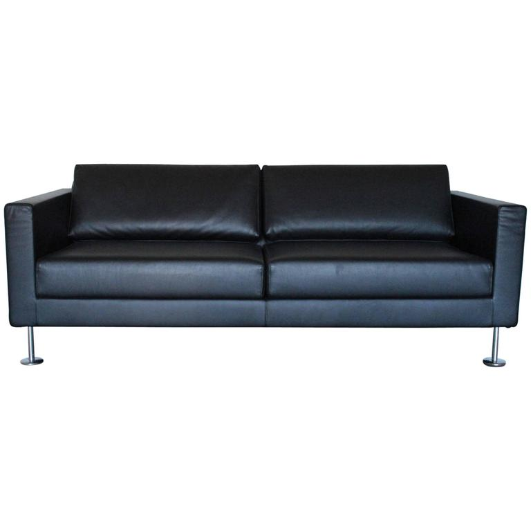 vitra park three seat sofa in jet black leather by jasper morrison for sale at 1stdibs. Black Bedroom Furniture Sets. Home Design Ideas
