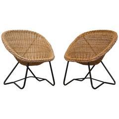 Pair of Dirk Van Sliedrecht Woven Bowl Chairs
