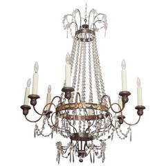 Italian Empire Tole Chandelier with Crystal Dressing