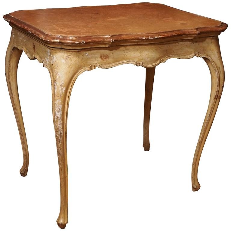 Italian Painted Occasional Table with Leather Top For Sale