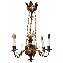 Biedermeier Painted and Giltwood Chandelier