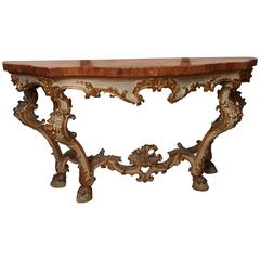 Italian Louis XV Parcel-Gilt and Painted Console with Faux Marble Top