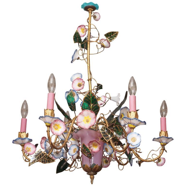 French Napoleon III Opaline Glass Chandelier 1