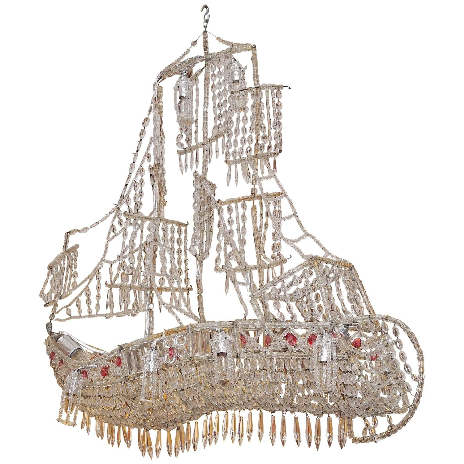 Italian Crystal Chandelier on Wire Frame in the Form of a