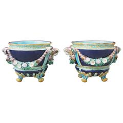 Pair of French Majolica Jardiniere