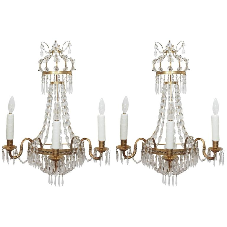 Italian Style Wall Sconces : Pair of Italian Empire Style Brass and Crystal Wall Sconces at 1stdibs