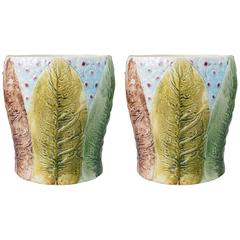 Pair of French Majolica Jardiniere in Tobacco Leaf Pattern