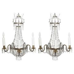 Pair of Italian Empire Wall Sconces of Brass with Crystal
