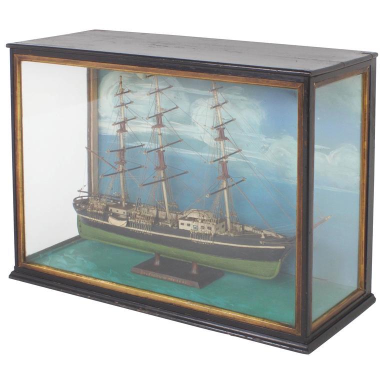 Vintage Handmade Boat Model Diorama