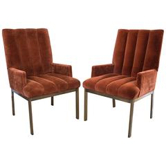 Pair of Side Chairs by Milo Baughman for Thayer Coggin with Brass Bases
