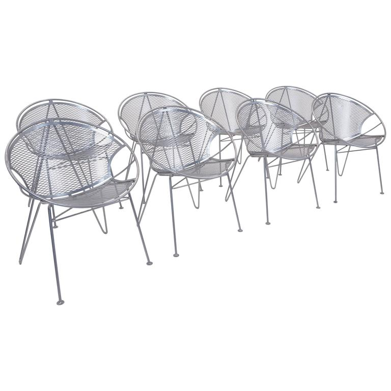 Eight John Salterini Outdoor Dining Chairs Hoop Design With Rare Hairpin Legs For