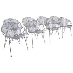 Eight John Salterini Outdoor Dining Chairs, Hoop Design with Rare Hairpin Legs