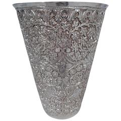 Antique Indian Silver Tumbler with Flowers