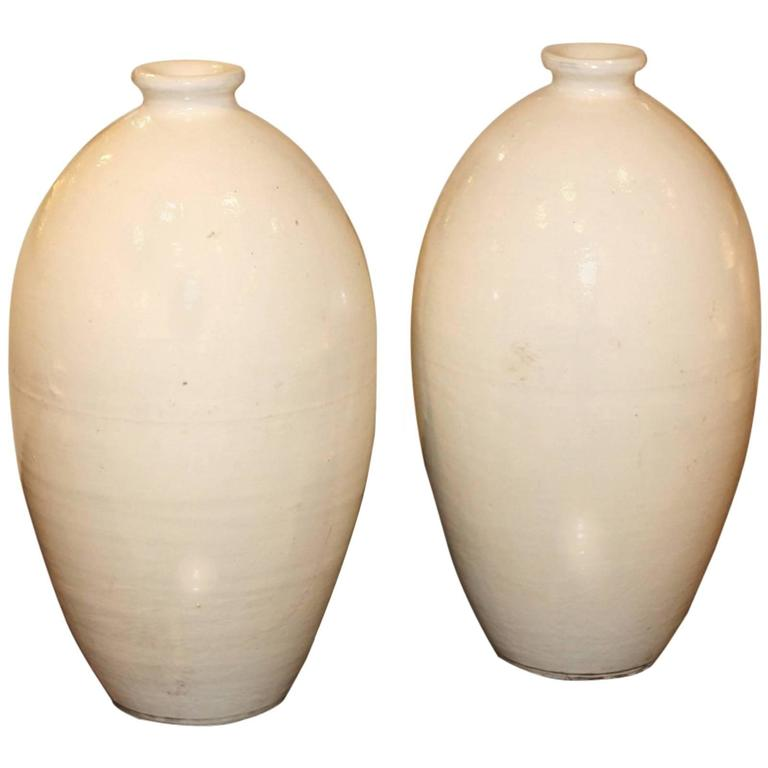 Pair of Contemporary Glazed Stoneware Vases at 1stdibs