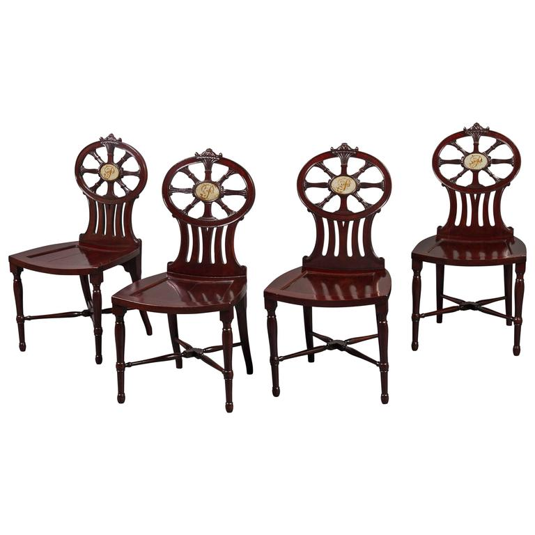 Gillows: Magnificent and Rare Set of Mahogany Hall Chairs, circa 1790 For Sale