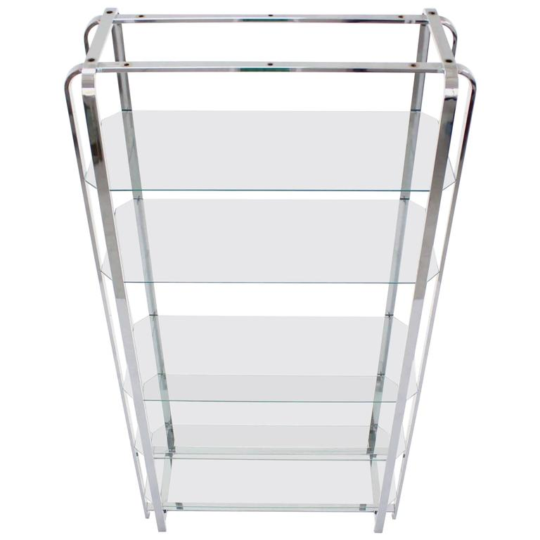 Mid-Century Modern Chrome and Glass Étagère