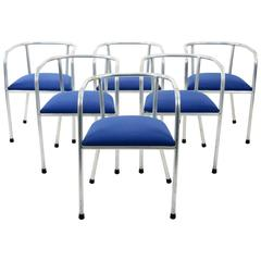 Set of 1940s French Aluminum and Blue Fabric Dining Chairs