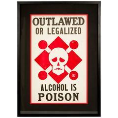 """Alcohol is Poison"" Vintage Prohibition Poster"