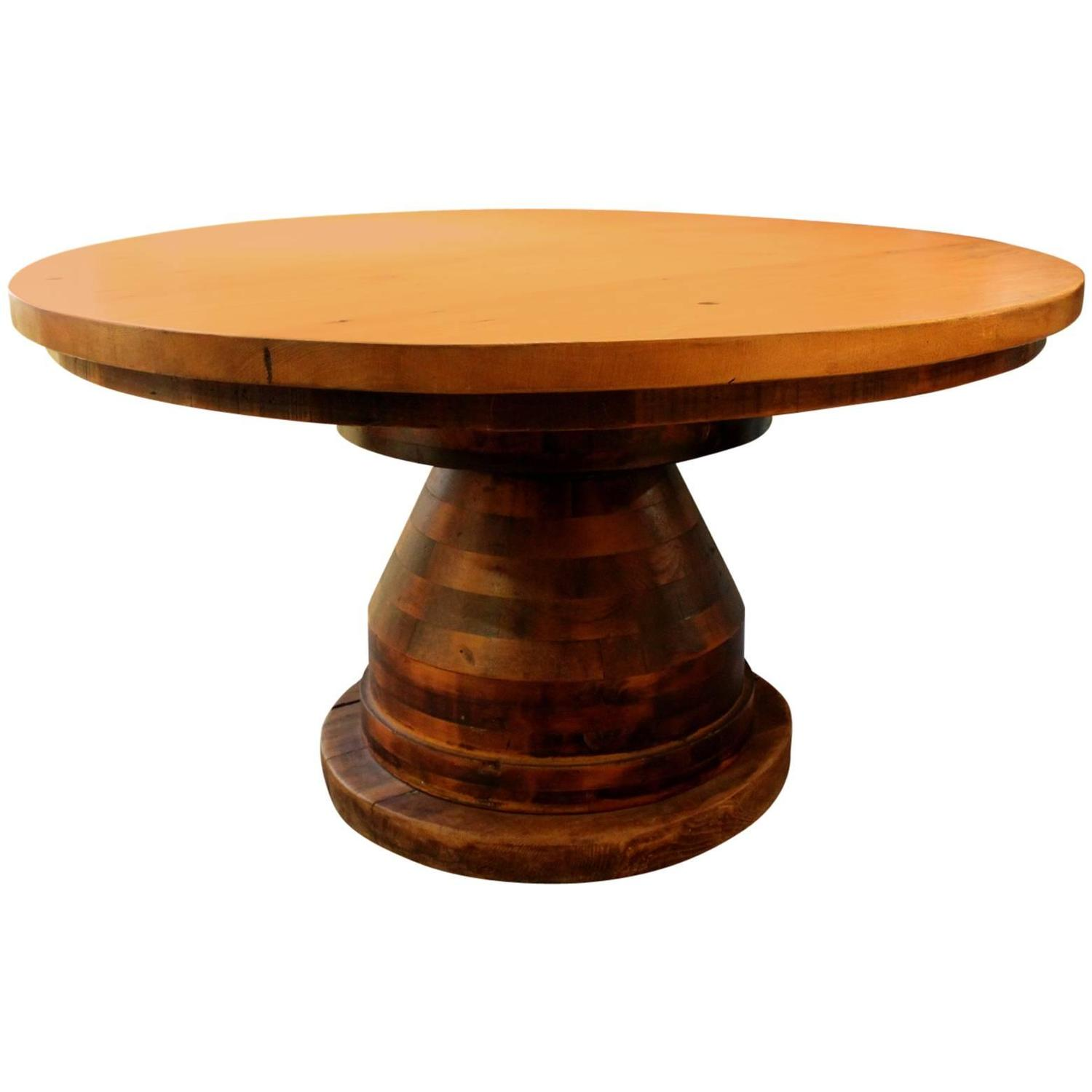Industrial Wood Round Dining Center Table At 1stdibs