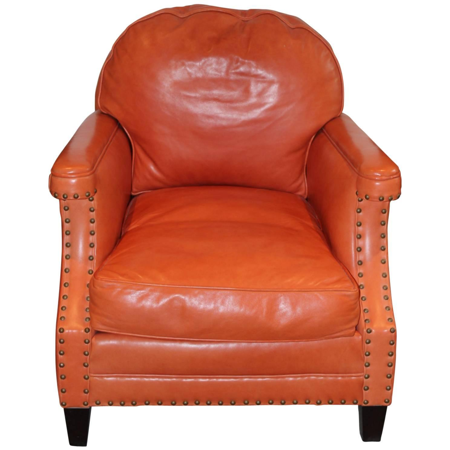 Leather And Nailhead Club Chair At 1stdibs