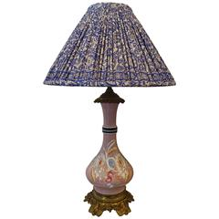 19th Century French Porcelain Lamp with Indian Silk Sari Lampshade