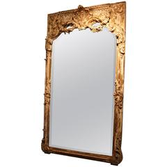 Large Painted French Mirror with Cartouche