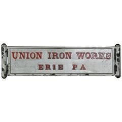 1920 Cast Iron Wall Plaque, Union Iron Works, Erie, PA