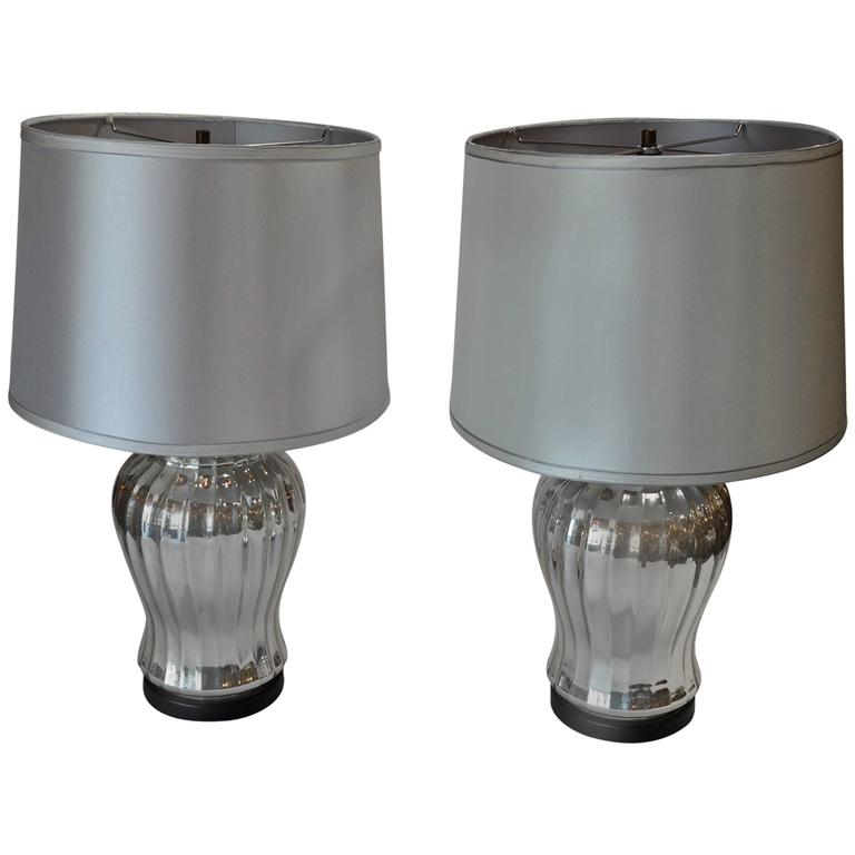 pair of silver mercury glass table lamps for sale at 1stdibs. Black Bedroom Furniture Sets. Home Design Ideas