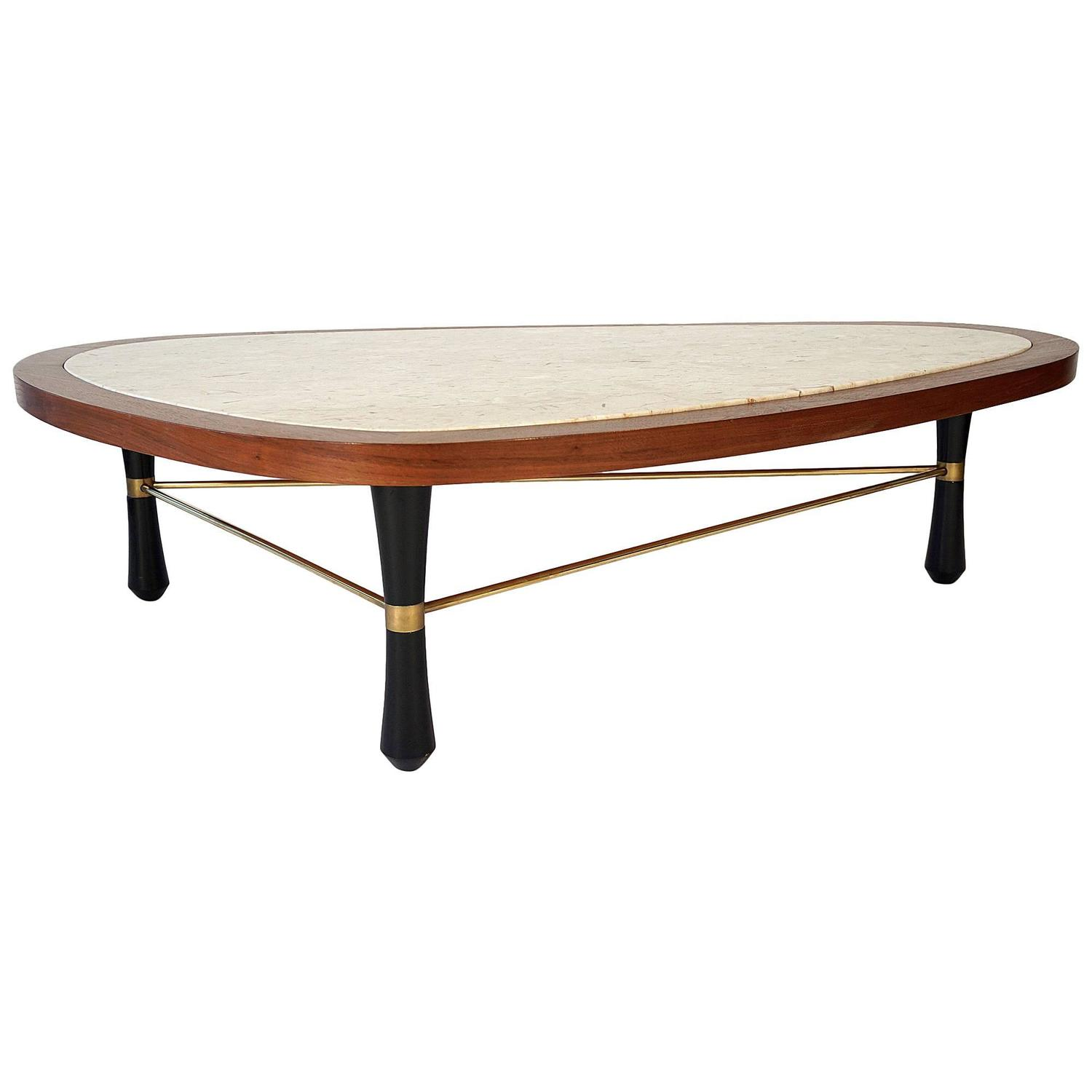 Walnut and marble coffee table attributed to harvey for Marble and walnut coffee table