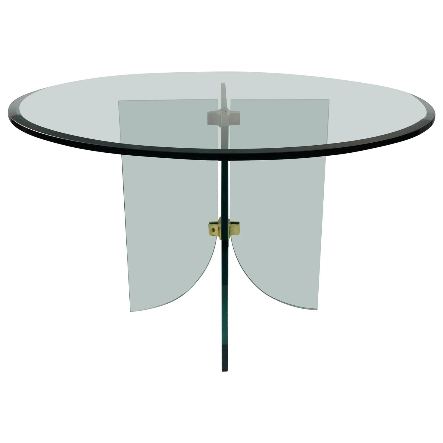 Phenomenal Pace Pedestal Glass Dining Table Circa 1970 For Sale At
