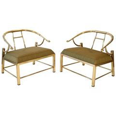 Pair of Brass Lounge Chairs by Mastercraft