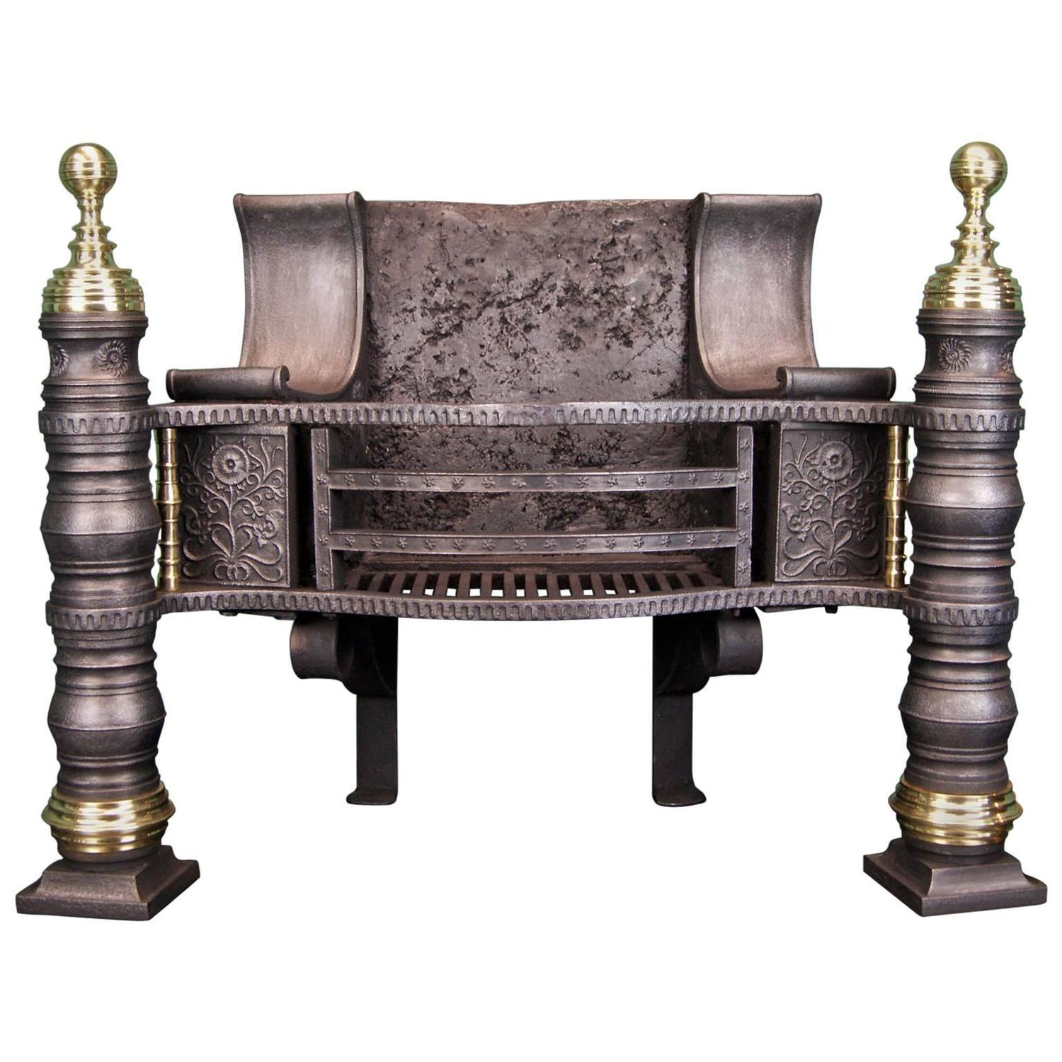 cast iron and brass philip webb pillar fireplace grate for sale at