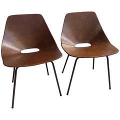 Pair of Leather Pierre Guariche 'Tonneau' Chairs