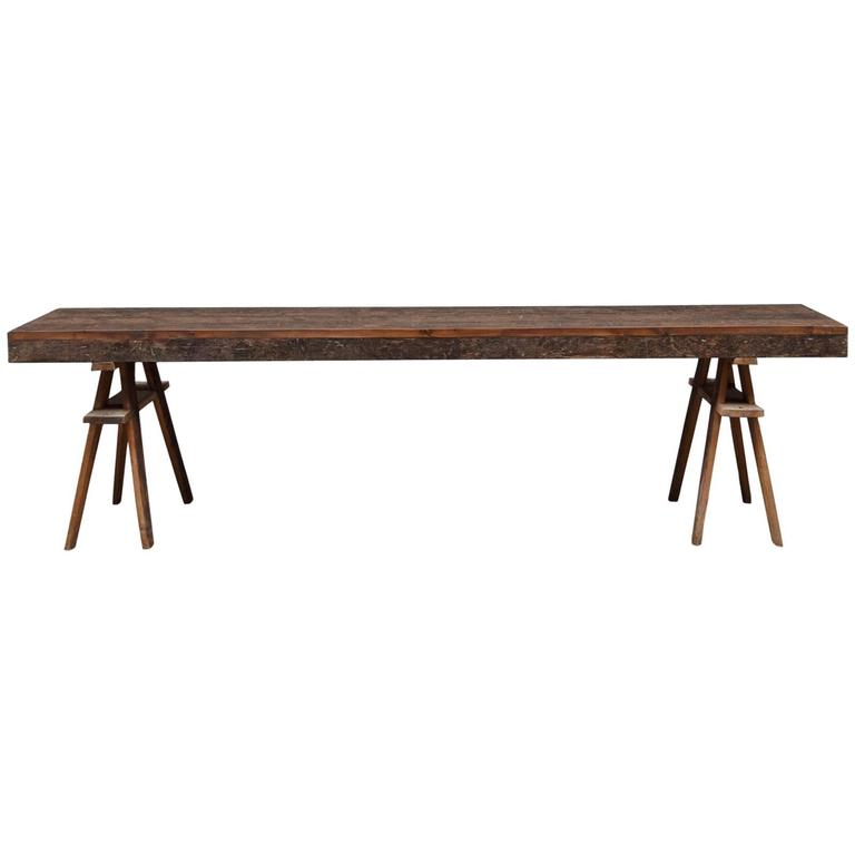 Reclaimed Victorian Pine Trestle Table At 1stdibs