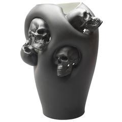 Limoges Porcelain Vase with Skulls by Alexandre Nicolas, France, 2013