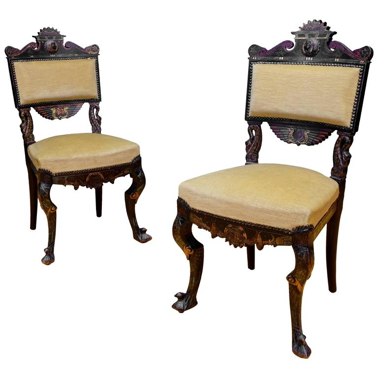pair of egyptian style chairs at 1stdibs