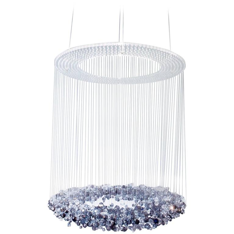 Blue Crystals Transparent Midnight Galaxy Chandelier At
