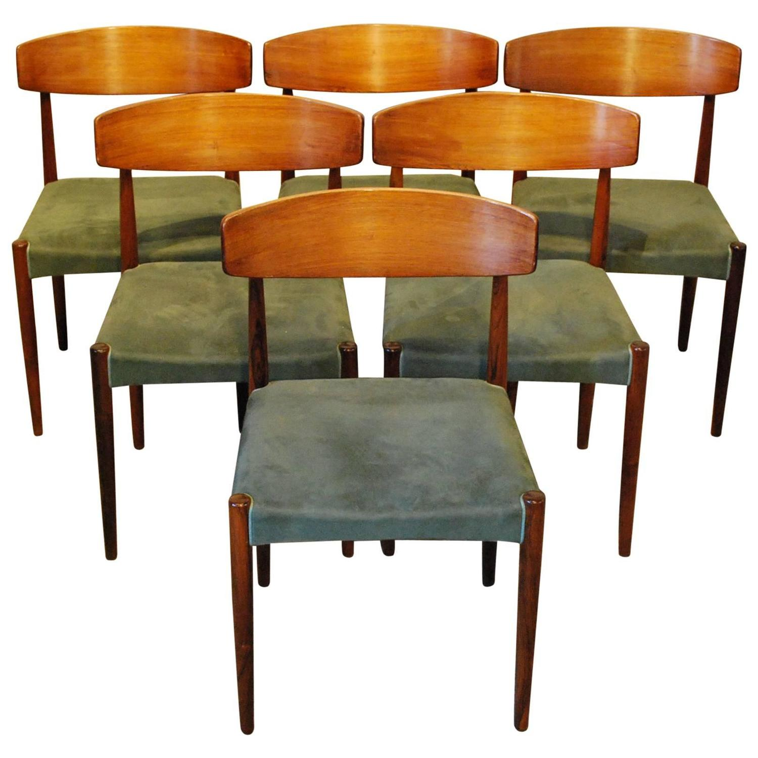 set of six mid century modern rosewood dining chairs at