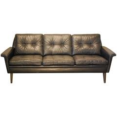 Hans Olsen Designed Danish Mid-Century Modern Sofa in Black Leather