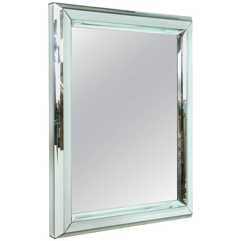 Modern large all glass wall mirror for sale at 1stdibs for Large glass wall