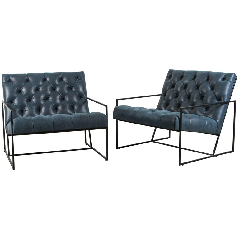 Diamond Tufted Thin Frame Lounge Chair by Lawson-Fenning For Sale