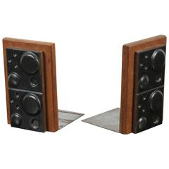 Black Ceramic and Teak Bookends by Martz