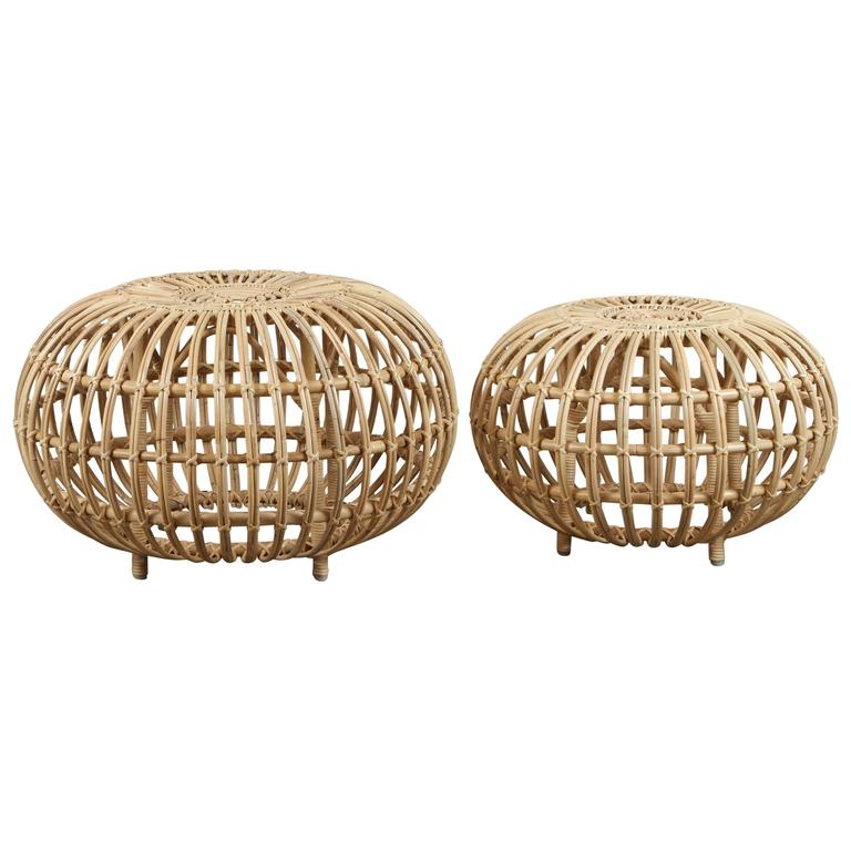Rattan Ottomans by Franco Albini 1